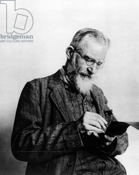 George Bernard Shaw, illustration from 'The Illustrated London News', 1914 (b/w photo)
