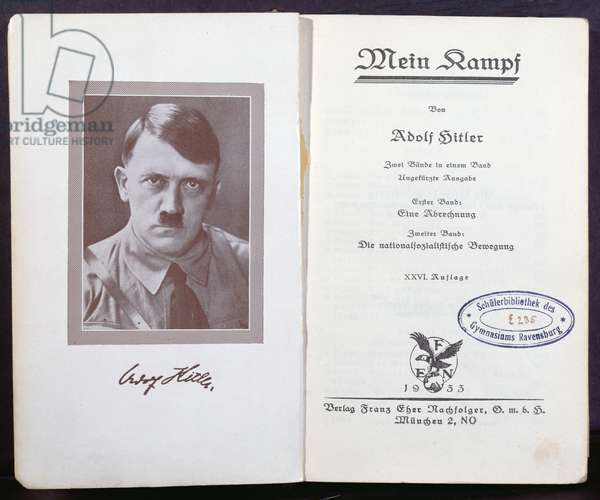 Frontispiece of 'Mein-Kampf' by Adolf Hitler (1889-1945), c.1938 (litho)
