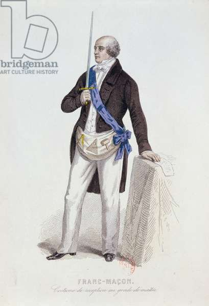 Costume of a Freemason for his reception into the grade of Master, c.1848 (engraving)