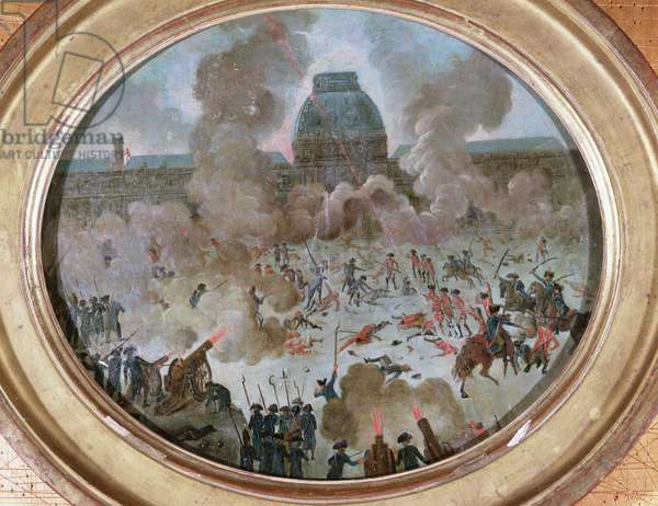 Attack on the Tuileries, Paris, 10th August 1792 (gouache on canvas)
