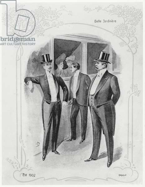 Men's Evening Suits, fashion plate advertising the Department Store 'La Belle Jardiniere', Summer 1902 (litho) (b/w photo)
