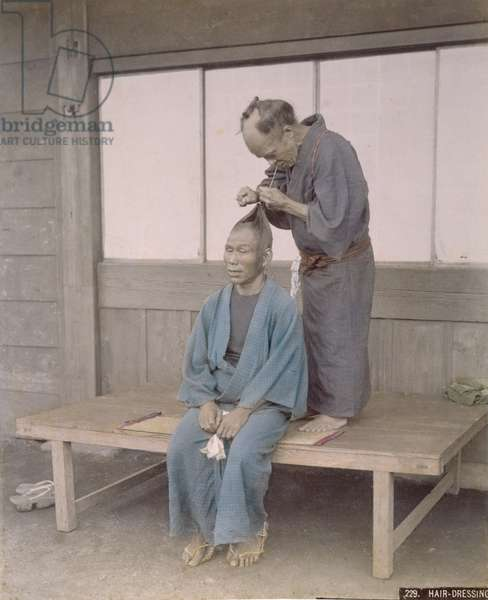 Japanese Hairdresser, c.1900 (hand coloured photo)