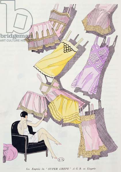 Illustrations of lingerie from the fashion magazine 'Art, Gout, Beaute', July 1926 (colour litho)