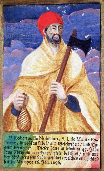 Portrait of Roberto de Nobili (1577-1656) (colour litho)