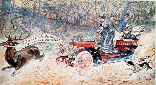Blast! I'm Done For, They Have a Mercedes, 1906 (colour litho)