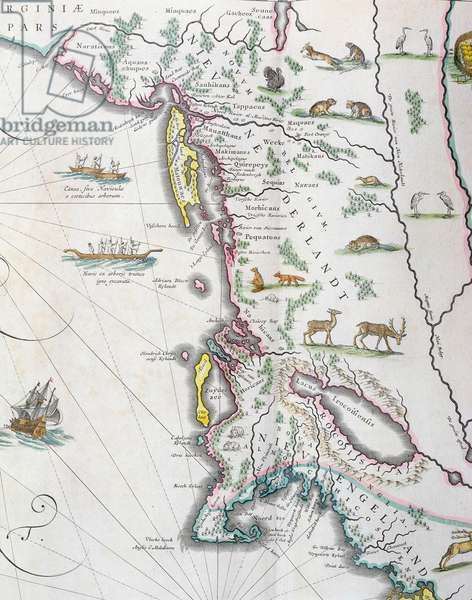 Map depicting the East Coast of North America, 1647 (colour litho) (see 93602 and 216517)