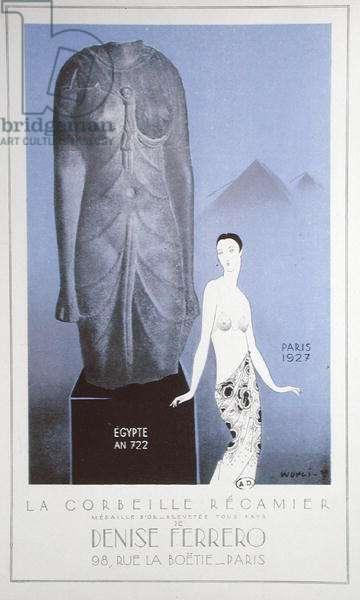 Advertisement for the 'Corbeille Recamier' by Denise Ferrero, 1927 (colour litho)