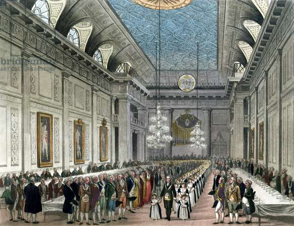 The Procession at Freemasons' Hall, Queen Street, on the occasion of the Annual Dinner for young girls assisted by the Order, from Ackermann's 'Microcosm of London' (colour litho)
