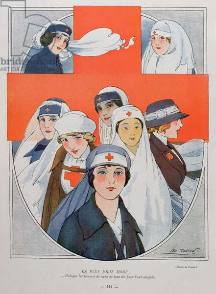 'The prettiest fashion...because kind hearted nurses of all countries have adopted it', illustration from 'La Baionnette', 21st October 1915 (colour litho)