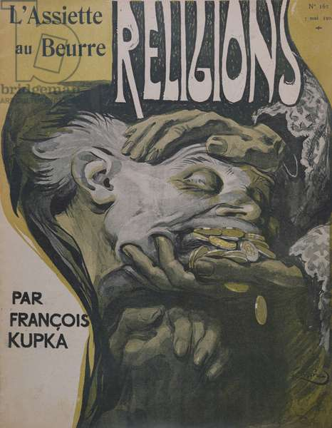 Front cover of the 'Religions' issue, from 'L'Assiette au Beurre', 7th May 1904 (colour litho)