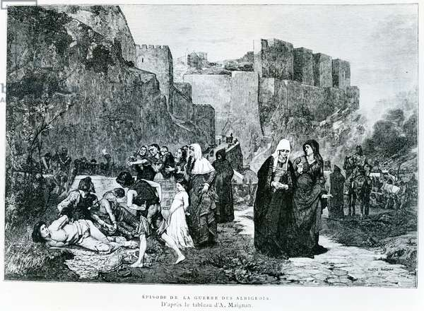 'The Insults offered to Prisoners', an episode in 1211 during the Albigensian Crusade (engraving)