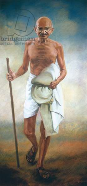 Portrait of Gandhi (1869-1948), 1968 (oil on canvas)