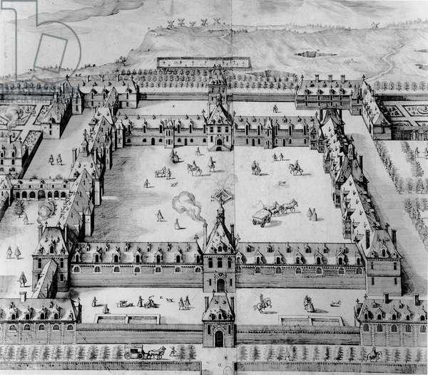 Saint-Louis Hospital, early 17th century (engraving) (b/w photo)