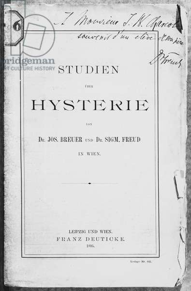 Front cover of 'Studien uber Hysterie' by Josef Breuer (1842-1925) and Freud, dedicated to Jean Charcot (1867-1936) Leipzig and Wien, published by Franz Deuticke, 1895 (b/w photo)