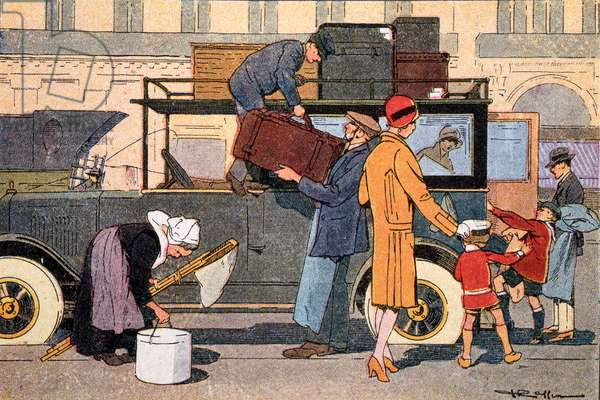 Leaving for the country, illustration from a school textbook, c.1920 (colour litho)
