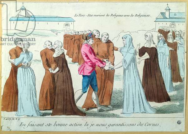 The Third Estate Marrying Monks to Nuns, c.1792 (coloured engraving)