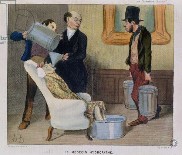 The Hydropathic Doctor, caricature from 'La Caricature' (colour litho)
