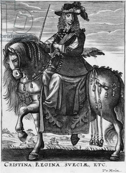 Queen Christina of Sweden (1626-89) on horseback (engraving) (b/w photo)