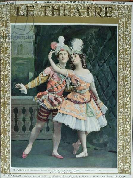 Nijinsky and Pavlova in 'Le Pavillon d'Armide', 1909 (colour litho)