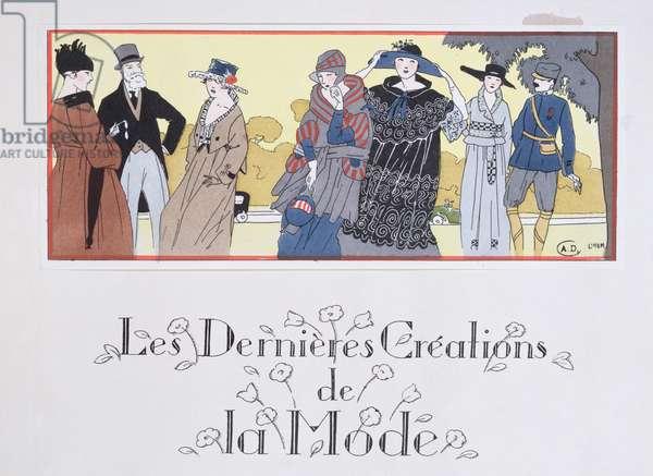 'The Latest Fashion Creations', illustration from 'Les Elegances Parisiennes' magazine, April 1917 (colour litho)