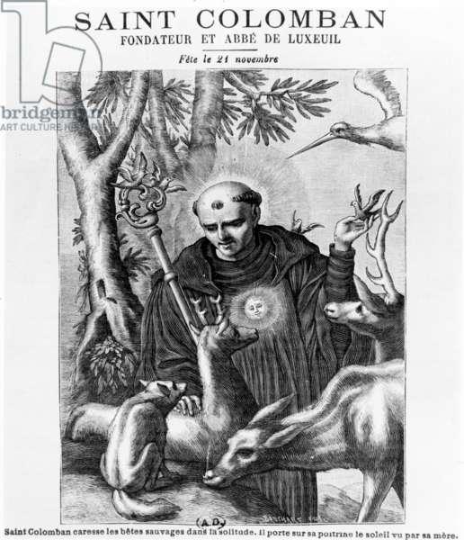 Saint Colombanus, print made by Bauchart (engraving)