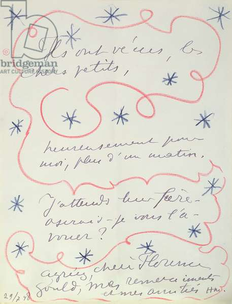 Letter from the painter to Florence Gould (b.1895), 29th July 1948 (pen & crayon on paper)