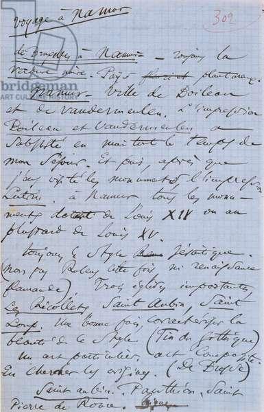 Page 302 of Baudelaire's pamphlet 'Pauvre Belgique' describing his trip to Namur, 1864 (pen & ink on paper)