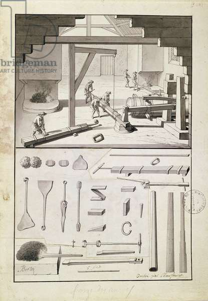Foundry, drawing for the 'Description des Arts et Métiers', by L. Simonneau, which inspired Diderot for the Encyclopédie (litho)