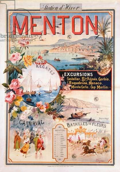 Poster advertising Menton as a Winter Resort (chromolitho)