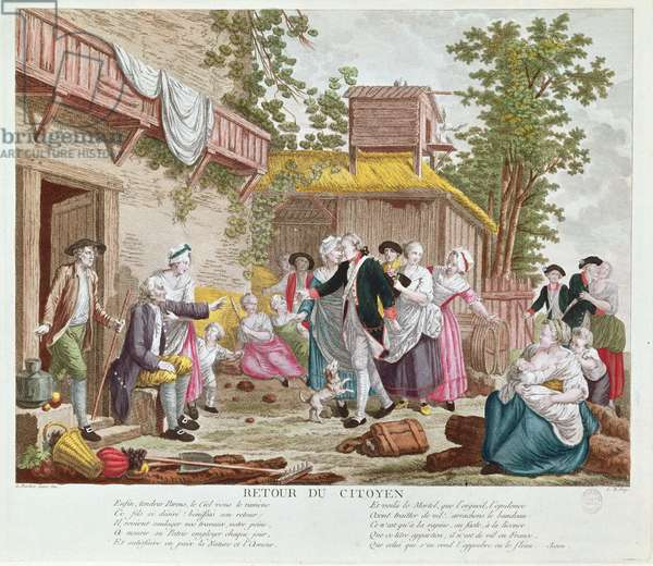 The Return of the Citizen, 1792 (colour engraving) (see also 336991)