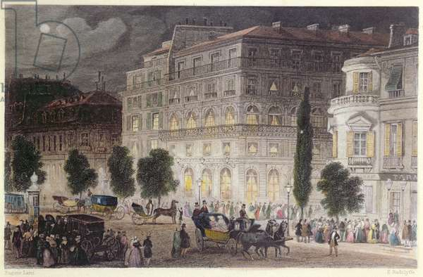 View of the Boulevard des Italiens, engraved by E. Radclyffe, c.1840-50 (colour litho)
