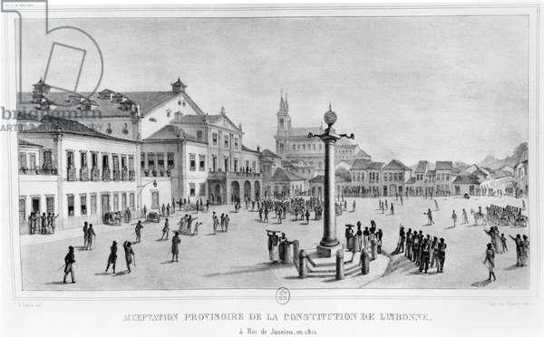 Temporary Acceptance of the Lisbon Constitution, Rio de Janeiro, 1821, illustration from 'Voyage Pittoresque et Historique au Bresil', Paris, 1835 (litho) (b/w photo)