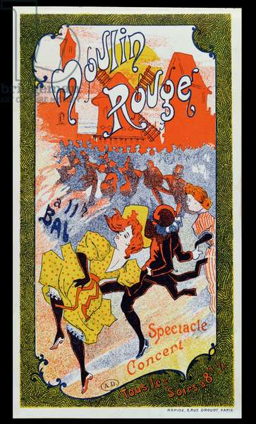 Poster advertising the Moulin Rouge, c.1890-1900 (colour litho)