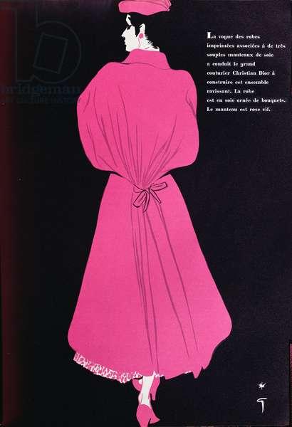 Design for a dress by Christian Dior (1905-57) from the spring collection, from 'L'Officiel de la Couture et de la Mode de Paris', March 1953 (colour litho)
