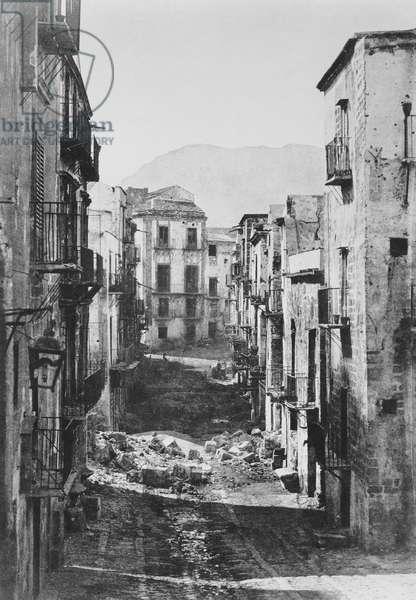 Destruction of the Castres Quarter, Palermo, 1860 (b/w photo)