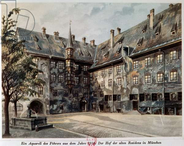 The Courtyard of the Old Residenz in Munich, 1914 (w/c on paper)