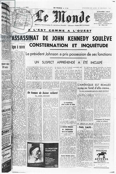 'The Assassination of John F. Kennedy (1917-63) Raises Consternation and Anxiety', 'Le Monde', 1963 (litho) (b/w photo)