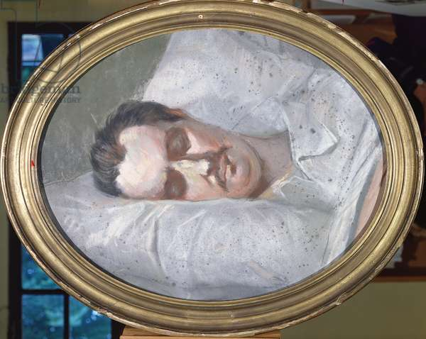 Honore de Balzac (1799-1850) on his Deathbed, 15th August 1850 (pastel on paper)