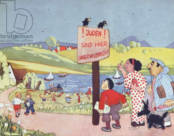 """'Jews Not wanted Here', illustration from """"Don't Trust A Fox in A Green Meadow or the Word of A Jew"""", antisemitic educational picture book supplement for children by Elvira Bauer, 1936 (colour litho)."""