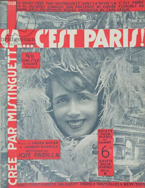 'Ca...C'est Paris', cover of Score of Song by Mistinguett, published by Editions Salabert in Paris, 1926 (colour litho)