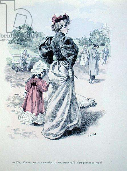 'Mummy, is that man over there my father?', c.1900 (coloured engraving)