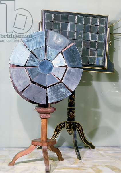 Variable focus mirror designed by Jacques Alexandre Cesar Charles (1746-1823) and used by Georges Louis Leclerc (1707-88) Comte de Buffon in his experiments on the fusion of lead (wood & glass)