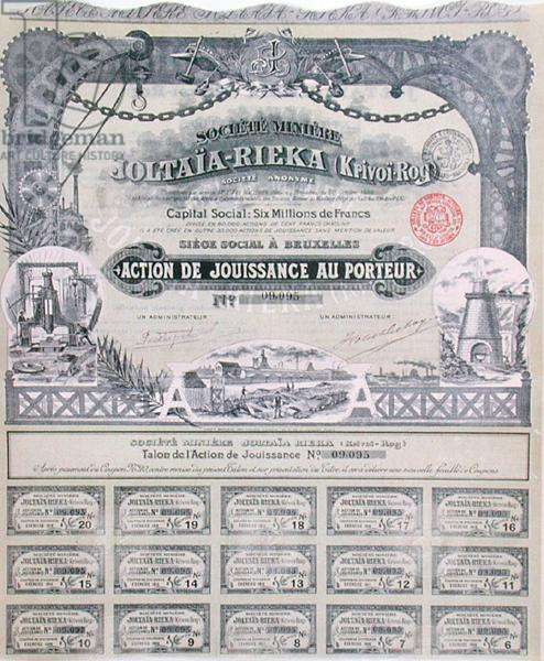Share certificate for the Franco-Russian 'Joltaia-Rieka' mining company, 1899 (colour litho)
