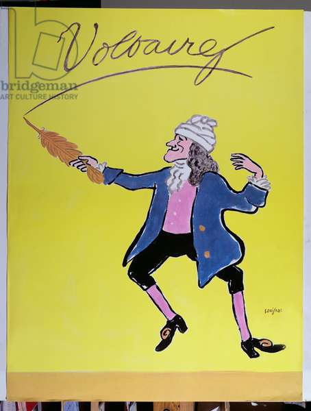 Caricature of Voltaire, 1979 (colour litho)