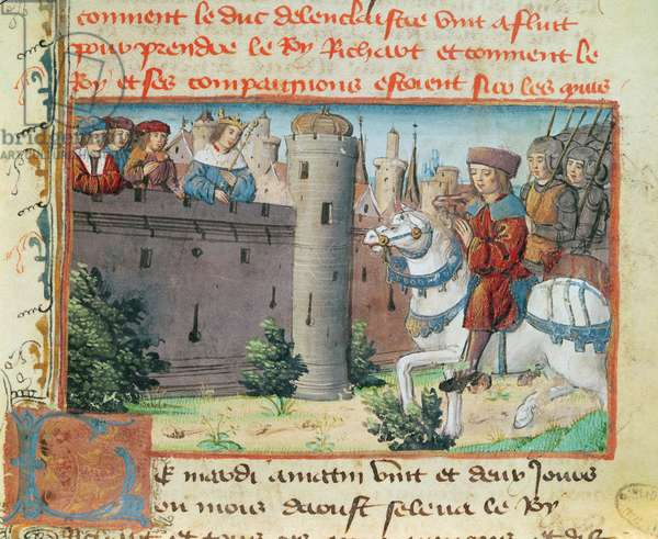 Ms 683 fol.23 King Richard II (1367-1400) of England on the ramparts of Flint Castle with his cousin Duke Henry of Lancaster (1366-1413) in 1399 (vellum)