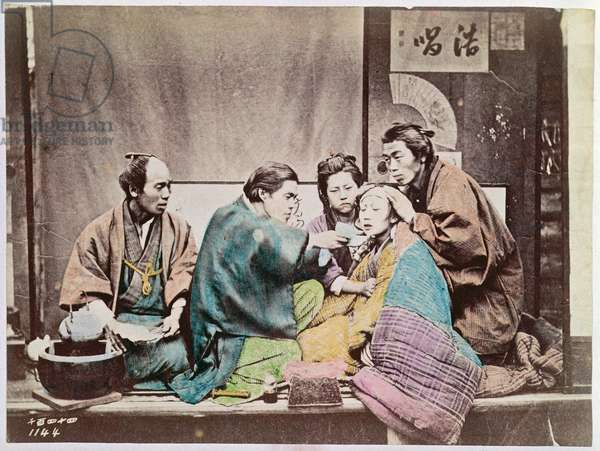 Scene of traditional medicine, c.1880 (coloured photo)