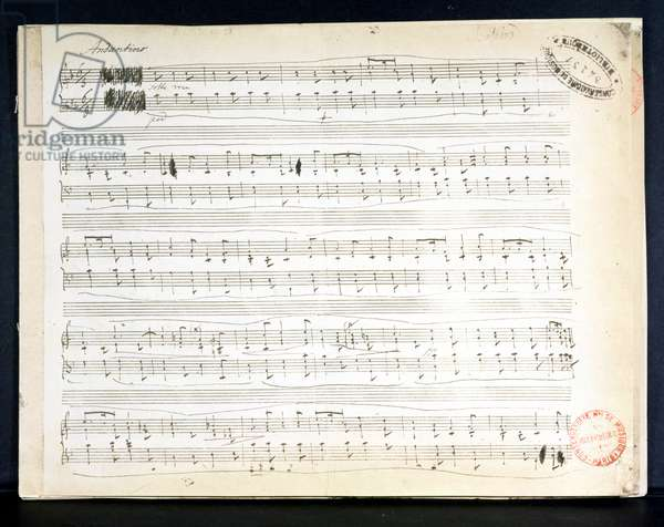 Facsimile of the score of 'Ballade Number 2 in F' (pen & ink on paper)