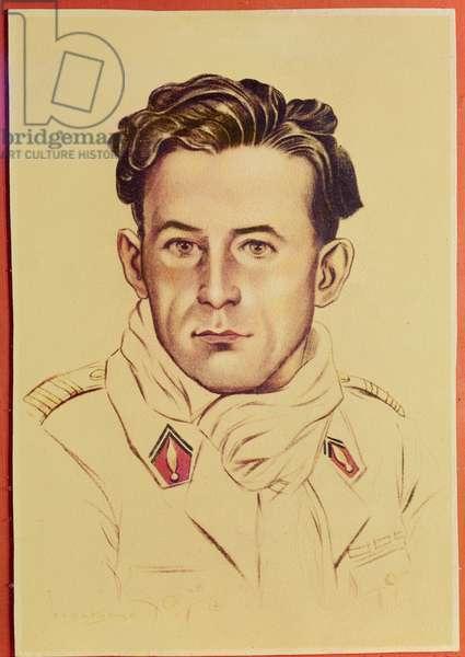 Pierre Georges (1919-1944) known as Colonel Fabien (colour litho)