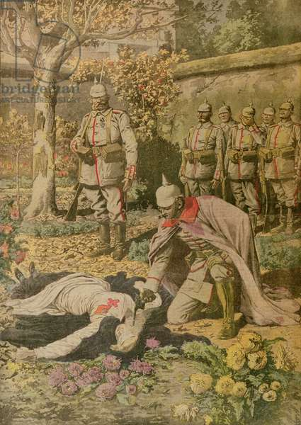The Execution of Edith Cavell (1865-1915) from 'Le Petit Journal', November 1915 (coloured engraving)