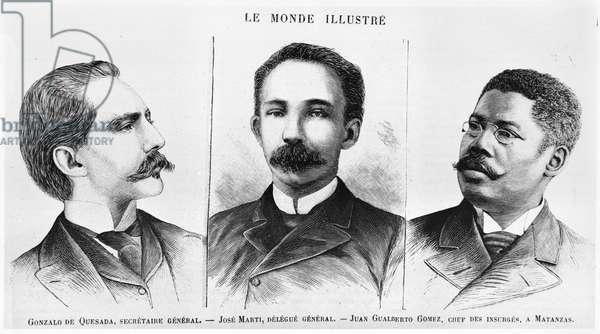 Jose Marti (1853-95), Gonzalo de Quesasa (1868-1915), Juan Gualberto Gomez (1854-1933), illustration from 'Le Monde Illustre', 16th March 1895 (engraving) (b/w photo)